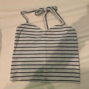 Striped cropped halter top NEVER WORN